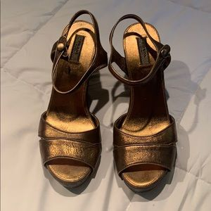 Size 8.5 authentic & perfect Prada copper wedges